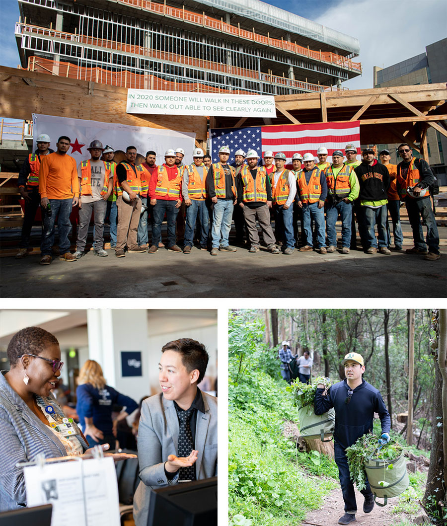 collage of construction, a staff fair and environmental community outreach