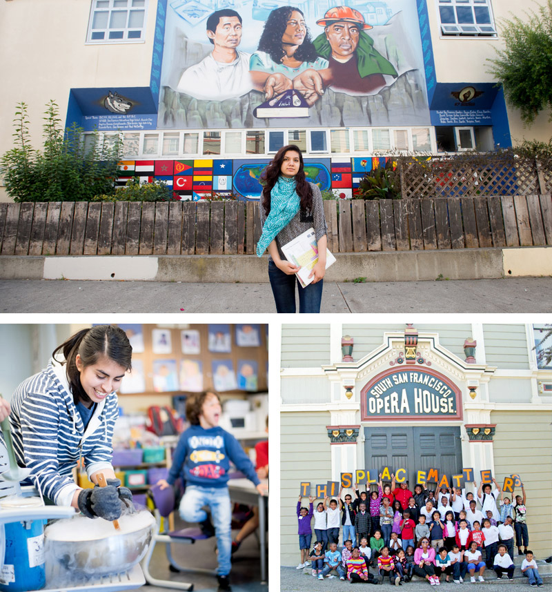 Collage of an SEP intern, kids outside the SF Opera House and SEP in the classroom